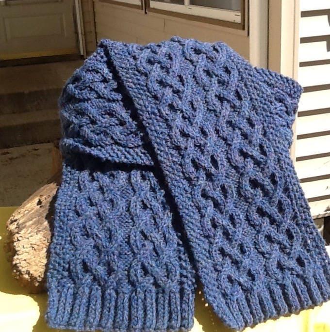 Blue Cable Knit Scarf Denim Blue Celtic Cable Pattern Long Cable