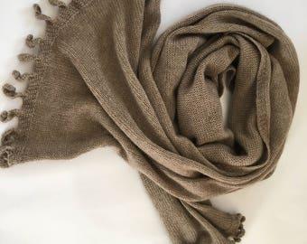 Cashmere scarf | 100% cashmere scarf | knitted scarf | knitting  scarf |women scarf |  Cashmere| Beige Triki | ready to ship