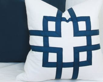 "Blue & white geometric ribbon decorative throw pillow cover. 18 "" x 18"". 20"" x 20"". 22"" x 22"". 24"" x 24"". toss pillow."