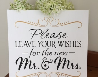 Please leave your wishes for the new Mr & Mrs wedding sign photo prop