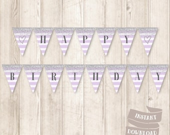 Printable Silver and Purple Birthday Banner, Silver Glitter, Watercolor Lavender Purple Stripes, Birthday Bunting Banner, INSTANT DOWNLOAD