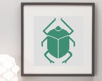 Scarab Beetle Cross Stitch Pattern