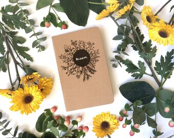 bloom - hand lettered + illustrated kraft cahier moleskine journal - 3 page styles