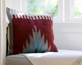 Handwoven Wool Pillow Cover/ Fair Trade Pillow Cover/ Boho Chic Home Decor/ Tribal Print Pillow Cover /Wool Pillow Cover/ 22x22 Pillow Cover