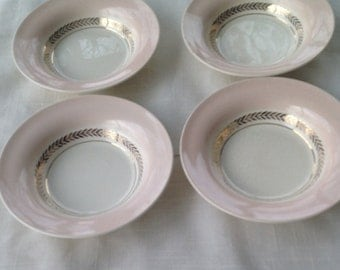 Set of two American Limoges Candle Light Federal Coral Fruit Bowls Fine China