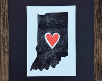 Indiana block print, Indiana art, Indiana love, Indiana heart, Hoosier art, Indiana gifts, Mat, 8 x 10""