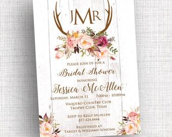 Bohemian Wedding, Rustic Shower Invitation, Rehearsal Dinner Invitation, Bridal Shower Invitation, Country, Boho Wedding, Antler Invitation