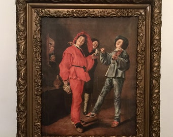 Antique art on canvas Merry Trio Renaissance period artist Judith Leyster transfer on canvas Amilcare Pizzi, Milan
