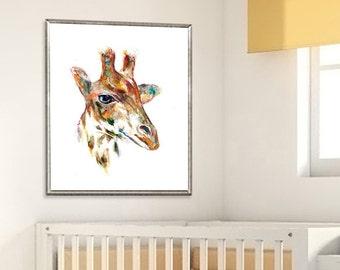 Giraffe nursery print, watercolor print, giraffe print, children wall art, animal art, jungle decor, safari kids print - R3