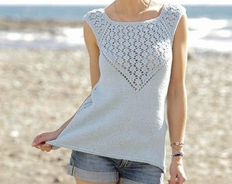 Knitted top, tank top, knit top, sleeveless jumper, ALL COLORS AVAILABLE, summer top, cotton top, 100% hand made.
