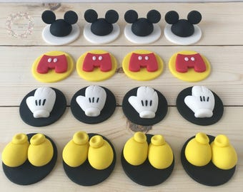 Fondant Mickey toppers,mickey mouse theme party, Mickey Mouse birthday, Mickey Mouse cupacake toppers, edible toppers