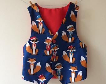 Fox waistcoat, nautical waistcoat, baby waistcoat, childrens waistcoat, new baby gift, fox print, fox gift, fox clothes, fox outfit
