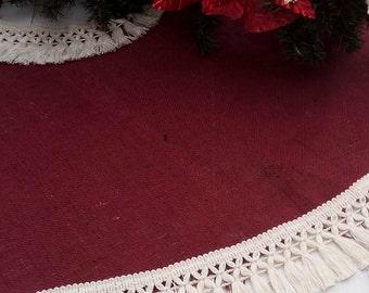 "Burlap Tree Skirt - Christmas Tree Skirt - Tree Skirt - Christmas Decor - Burgundy Tree skirt with fringe - 46"" - 54"""