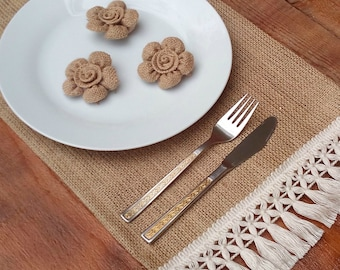 Burlap Placemats - Burlap Tablemats with White Fringe - Plate Charger - Table Settings - Rustic Table Decor - Home Decor - Set of 6