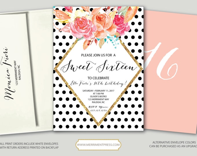 Polka Dot Sweet Sixteen Birthday Invitation // Sweet 16 // Any Age // black and white // blush pink // gold glitter // RALEIGH COLLECTION