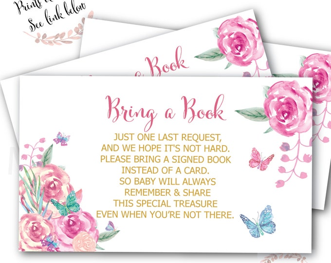 Butterfly Bring a Book Card // Stock the Libray // Floral // pink// Baby Shower // Instant Download // VICTORIA COLLECTION