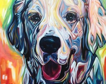 SAMPLE 36x36 Custom Portrait of Bodie the Dog (SOLD)