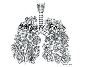 Rose Lungs Pencil Drawing Print - Wall Art - Creative Realistic Art Gift - Home Decor - © not included across - Mysti Marie Rose Tucker