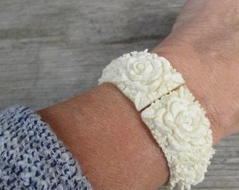 Petite Bubbleite Featherlite Cream Celluloid Clamper Bracelet, Floral Bride Wedding