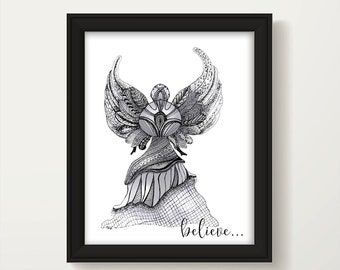 Angel Print, Guardian Angel Wall Art, Inspirational Print, Believe Print, Guardian Angel, Zentangle Angel Art, Angel Wall Decor P2009A