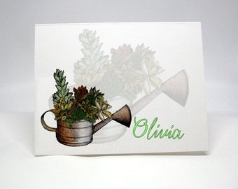 Nature Note Cards, Succulent Thank You Card, Handdrawn Personal Note Cards, Garden Notes, Hand Drawn Stationery, Flower Note Cards 14001037A