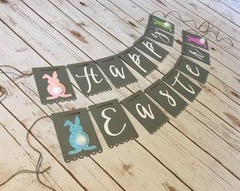 Happy Easter Banner, Bunny Banner, Easter Banner, Fluffy Bunnies, Easter Decor, Easter Decorations, Easter, Bunny, Hoppy Easter