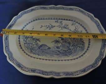 Furnivals Blue Quail LArge Oval Serving Platter 13 1/2""