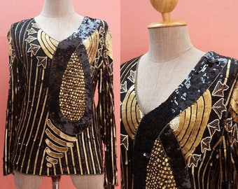 Black Sequin Top Gold Sequin Top Sequin Blouse Beaded Top Beaded Blouse Long Sleeve Top Size M
