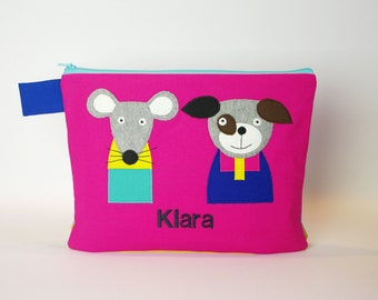 """Diaper bag/cosmetic bag """"Mouse and dog"""""""