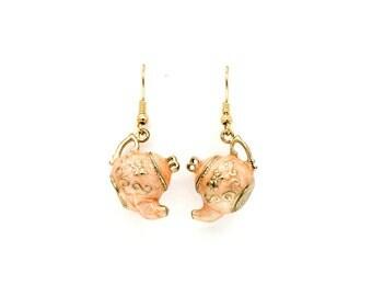 3D Alice in wonderland teapot emboss hook drop earrings
