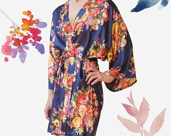 Bridesmaid Robes Set of 6, Floral Robes, Satin Robes, Bridal Robe, Wedding Robes, Bride Robe, Silk Robes, Kimono Robes, plus size