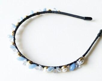 Audrey Headband - Beaded headband - Boho headband - Pearl headband - Vintage style - Light Blue Headband - Adult headband