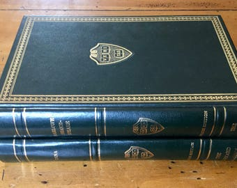 Set of 2 Classic Decorative Leather book, Vintage Book decor, The Harvard Classics, Wedding decor