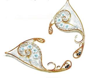 Fairy Ears - Forget me not, flower fairy costume, fairy ear wraps, cosplay, LARP, elvish jewelry, Elven Wedding, elf ears, fairy jewelry