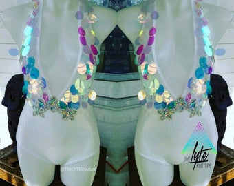 Rave Bodysuit Royal Unicorn Bodysuit irridescent white on white AB Rhinestone Festival Rave Wear