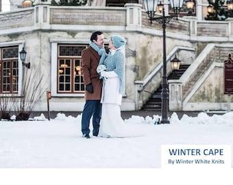 WINTER CAPE, winter wedding cape, knitted cape, Poncho, Cozy Knit wrap, Winter Cape Coat, Wool cape, bridal cape, bridesmaids cape