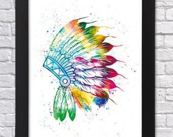 Indian Headdress Printable art, Native American, Watercolor Art Printable, Kids room decor, Headdress Poster, Wall decor, Birthday Gift