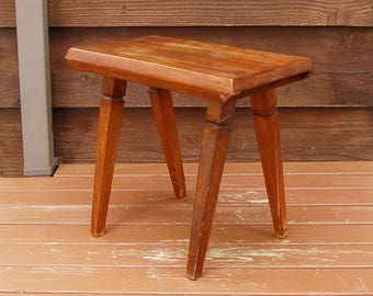 Small Table Stand, Vintage Wooden Stand, Bench Style Table, Plant Stand, Occasional Table, Porch Stand