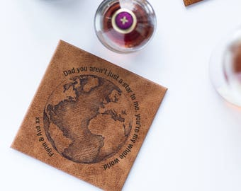 Dad You're My World Coaster, Leather Coaster for Dad, Personalized Coaster for Dad, Father's Day Gift (OHSO25) 41B3