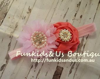 Pink Corals Baby Headband- Baby Girl Hair Bows- Flower girl headband,. Pearl and rhinestone headband- newborn Headband