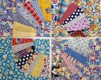 14 Fan Quilt Squares - Vintage - Machine Stitched