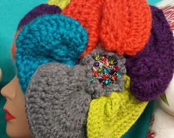 Multi Color Crochet Hat with Colorful Pendant