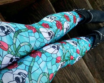 Skull and Rose stained glass Leggings pants
