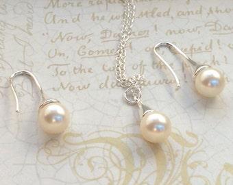 Cream Rose Bridal - Bridesmaid Jewelry - Swarovski pearl Jewelry - Pearl Bridal Jewelry - Bridesmaid Jewelry Set - Bridal Jewelry - Wedding