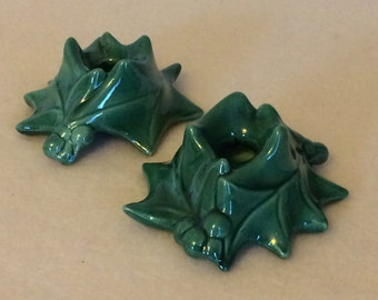 Vintage Holly Candle Holders