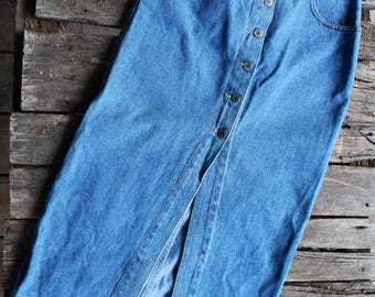 Vintage Billy Blues Jean Button Down Maxi Skirt - Size 7