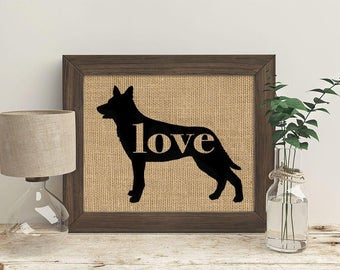 Australian Kelpie Love - Burlap Dog Breed Home Decor Rustic Print - Gift for Dog Lovers - Can Be Personalized with Name (101p)