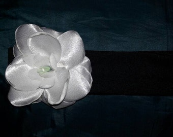 Satin open rose headband