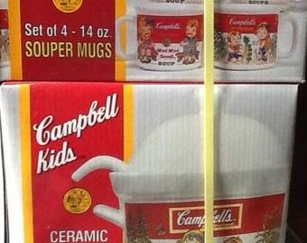 Campbell's Kids 7-PC Souper Set 48 oz. Tureen w/cover ladle and 4 - 14 oz. Mugs NIB