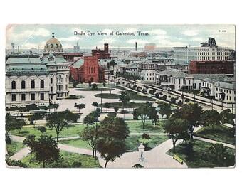 Galveston Texas antique postcard | Ball High School | 1910s TX travel souvenir, hometown decor, vintage postcard